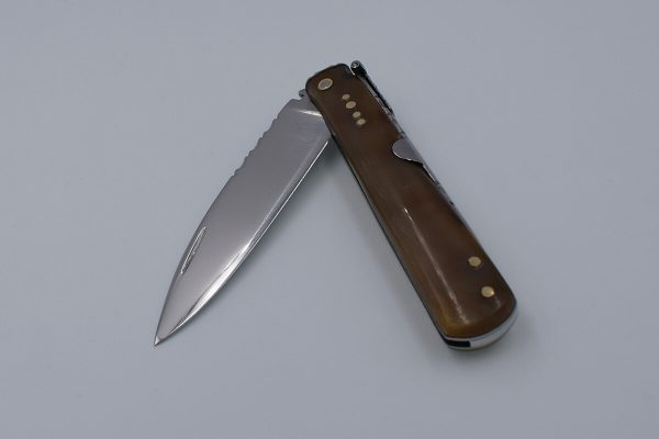 Ref 020 - Machete folding knife made from polished bull horn